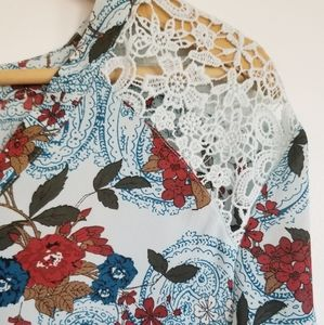 Michel Studio floral lace bell sleeve blouse